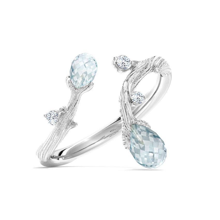 Diamond,Gemstone Rings 14 Karat White Gold Detour Dewdrops Diamond Ring