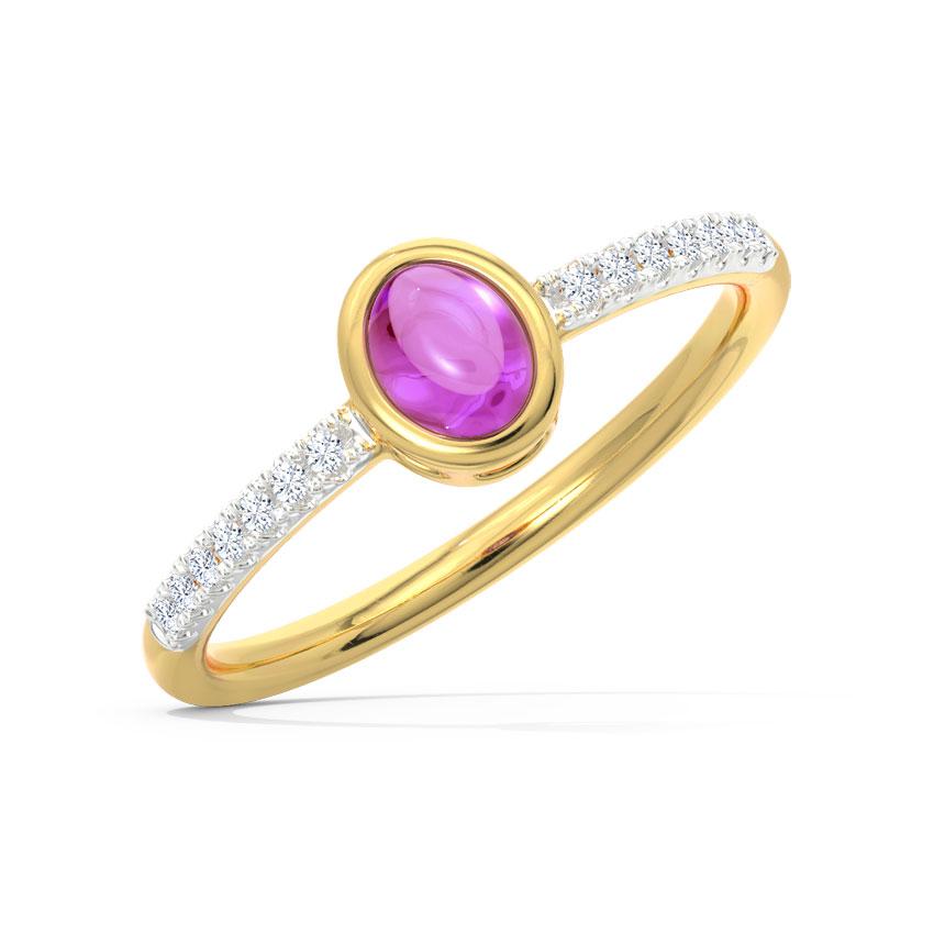 Diamond,Gemstone Rings 18 Karat Yellow Gold Classic Lilac Diamond Ring