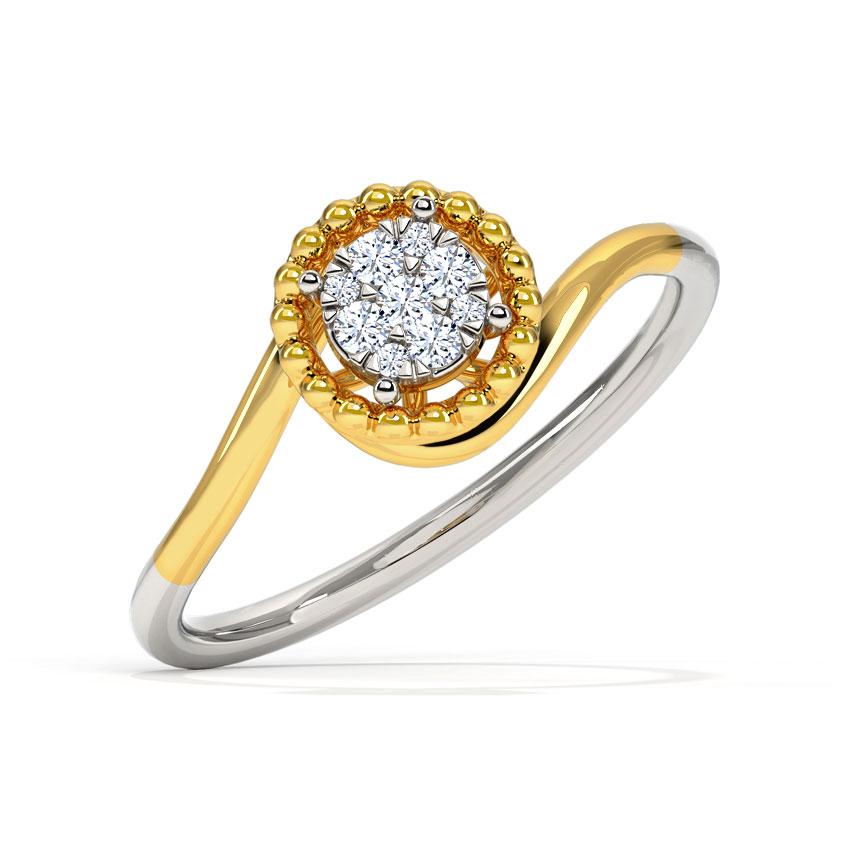 Diamond Rings 18 Karat Two Tone Gold Cluster Miligrain Diamond Ring