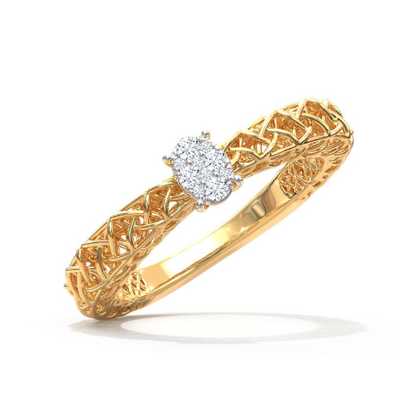 Diamond Rings 14 Karat Yellow Gold Ovate Mesh Diamond Ring