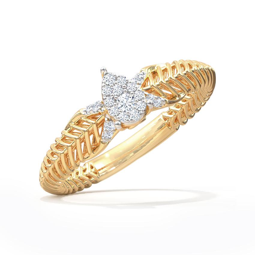Diamond Rings 14 Karat Two Tone Gold Droplet Mesh Diamond Ring