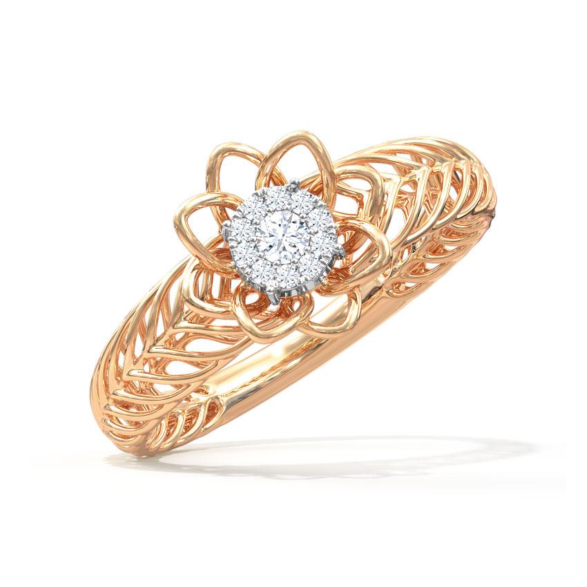 Diamond Rings 14 Karat Rose Gold Blossom Mesh Diamond Ring