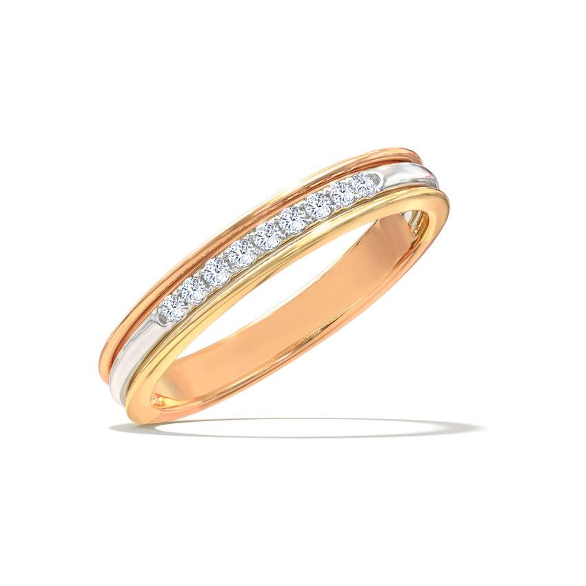 Diamond Rings 14 Karat Three Tone Gold Kimberly Linear Diamond Ring