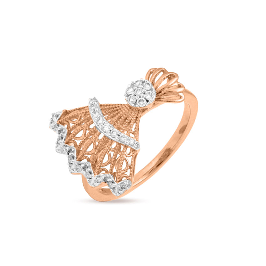Diamond Rings 18 Karat Rose Gold Alluring Fan Diamond Ring