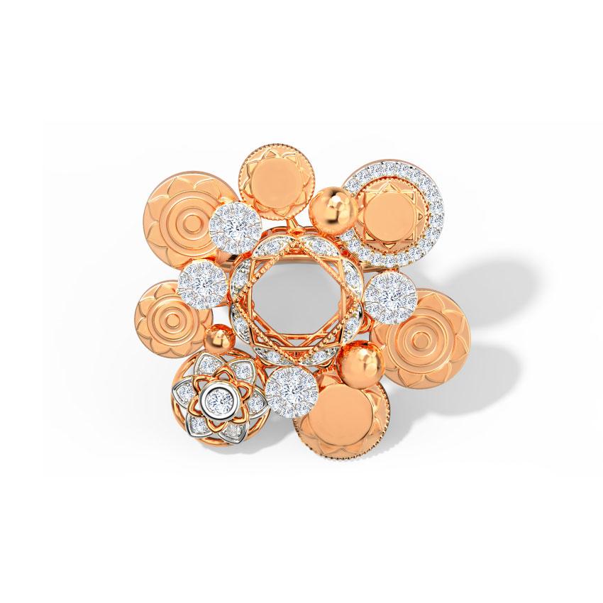 Diamond Rings 18 Karat Rose Gold Aurora Coin Diamond Ring