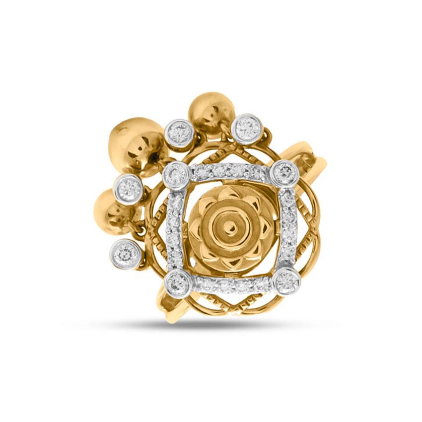 Diamond Rings 18 Karat Yellow Gold Hestia Coin Diamond Ring