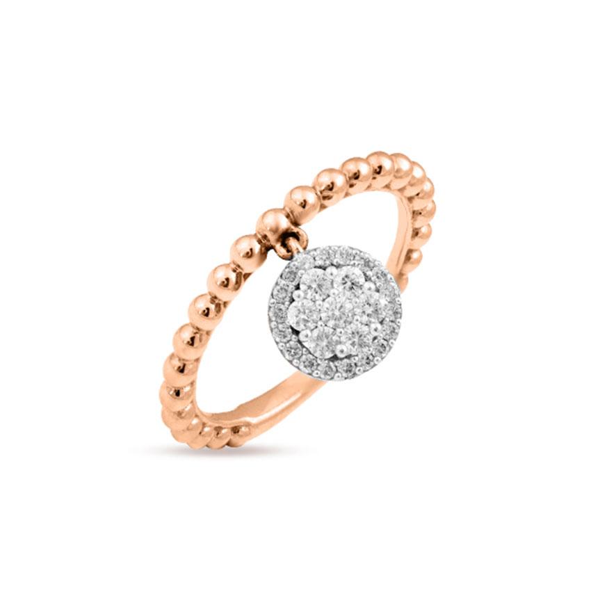Diamond Rings 18 Karat Rose Gold Brilliant Sway Diamond Ring