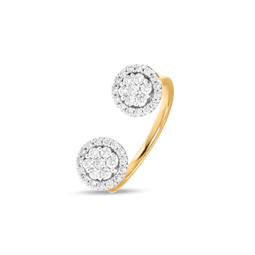 Diamond Rings 18 Karat Yellow Gold Duo Glitter Diamond Ring