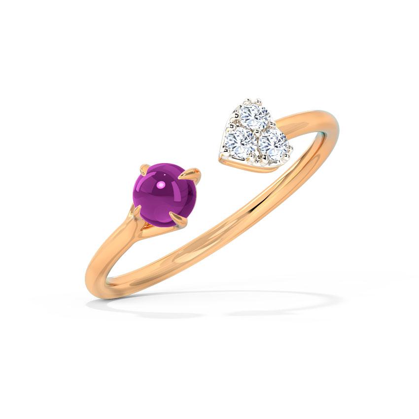 Diamond,Gemstone Rings 14 Karat Rose Gold Blush Love Diamond Ring