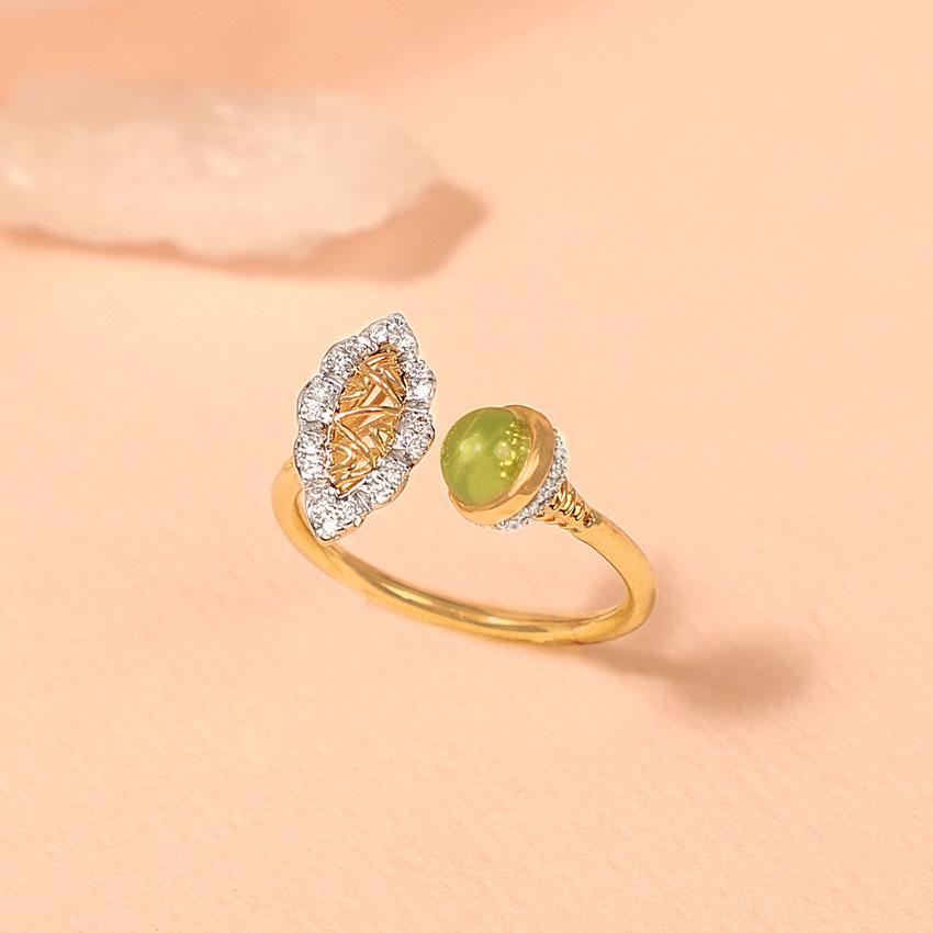 Diamond,Gemstone Rings 14 Karat Yellow Gold Peridot Aztec Diamond Ring