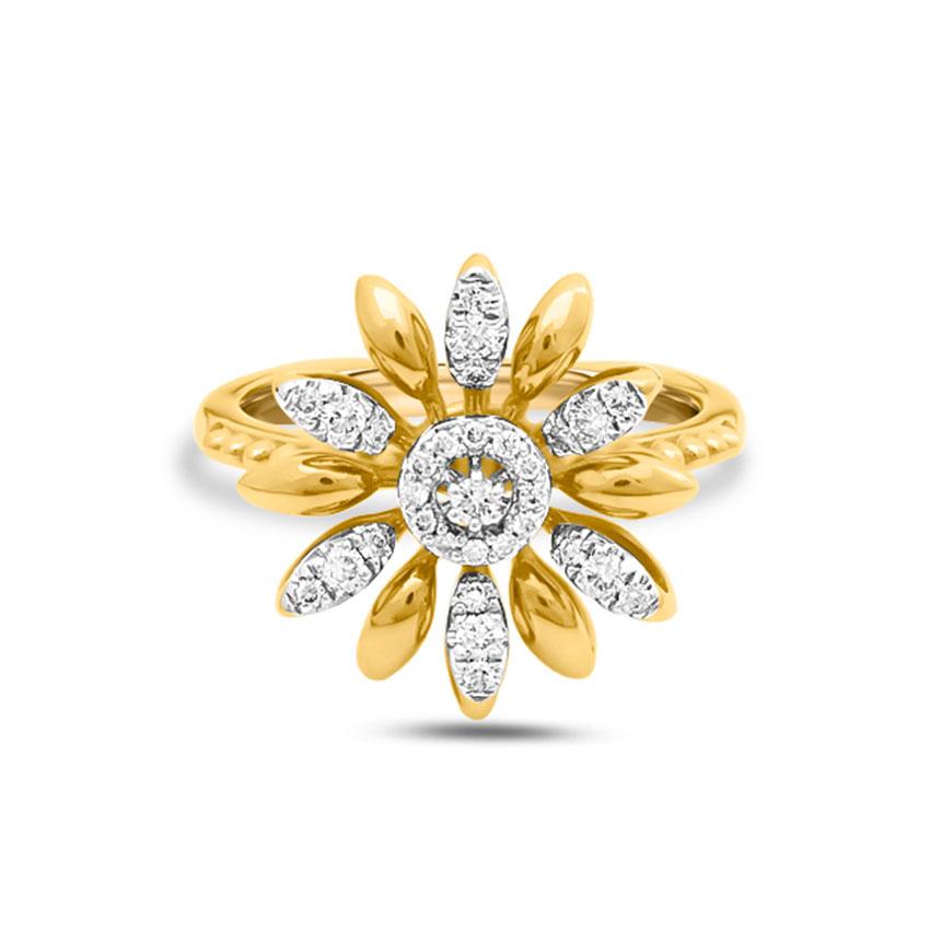Diamond Rings 14 Karat Yellow Gold Adena Blooming Diamond Ring