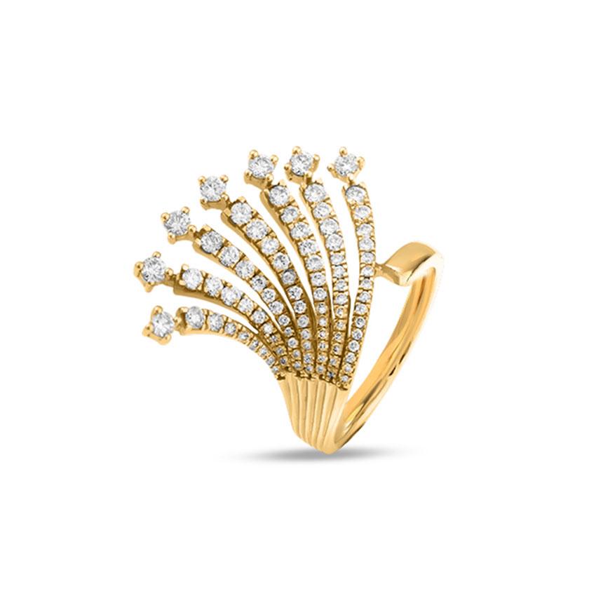 Diamond Rings 18 Karat Rose Gold Glimmer Wave Diamond Ring