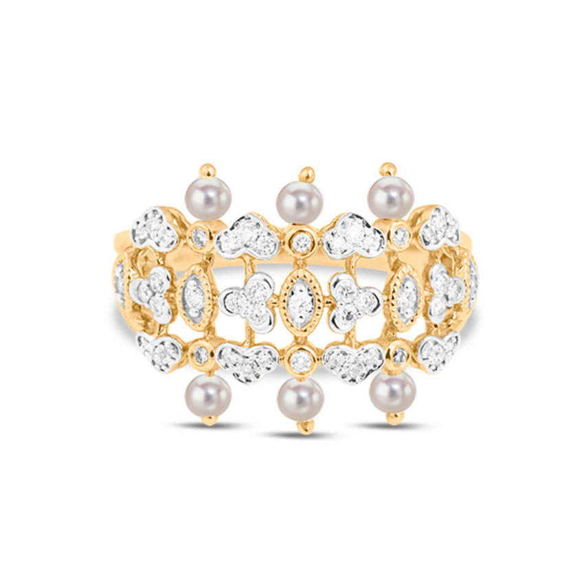 Diamond,Gemstone Rings 18 Karat Yellow Gold Exquisite Pearl Diamond Ring