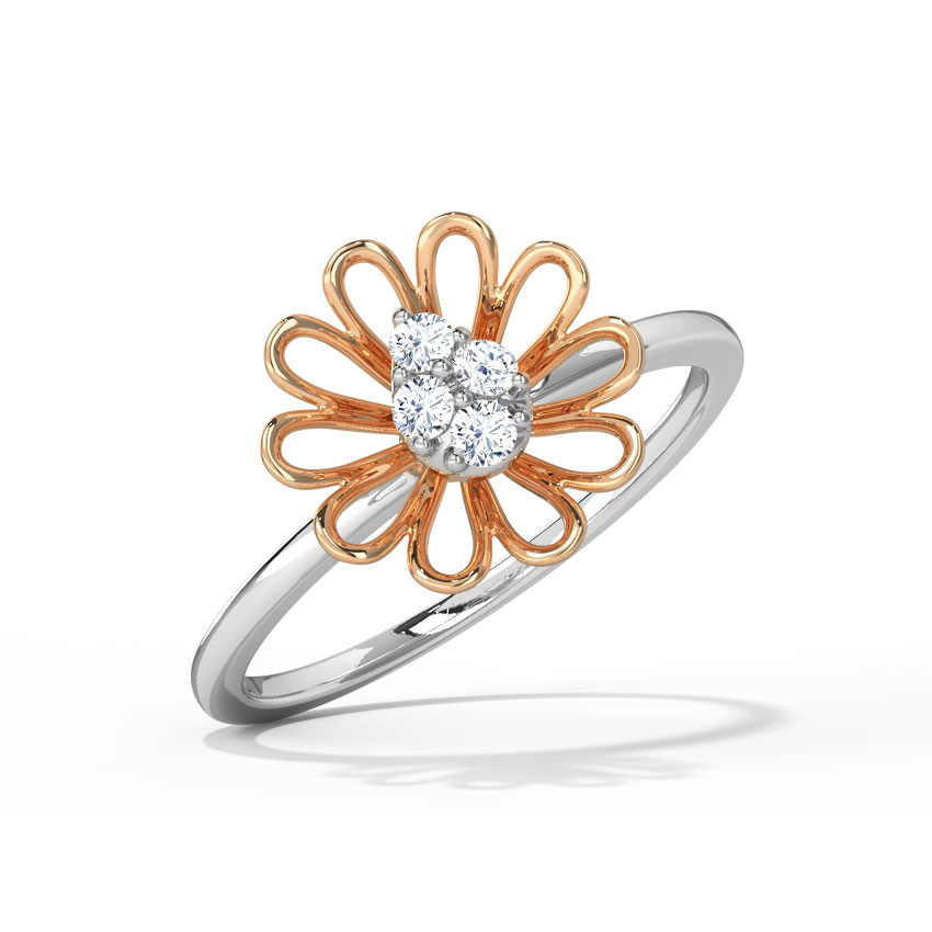 Platinum,Gold,Diamond Rings Platinum 950, 18 Karat Two Tone Gold Aster Blossom Platinum Ring