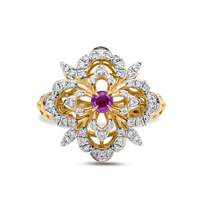 Diamond,Gemstone Rings 18 Karat Yellow Gold Fiza Glittering Diamond Ring