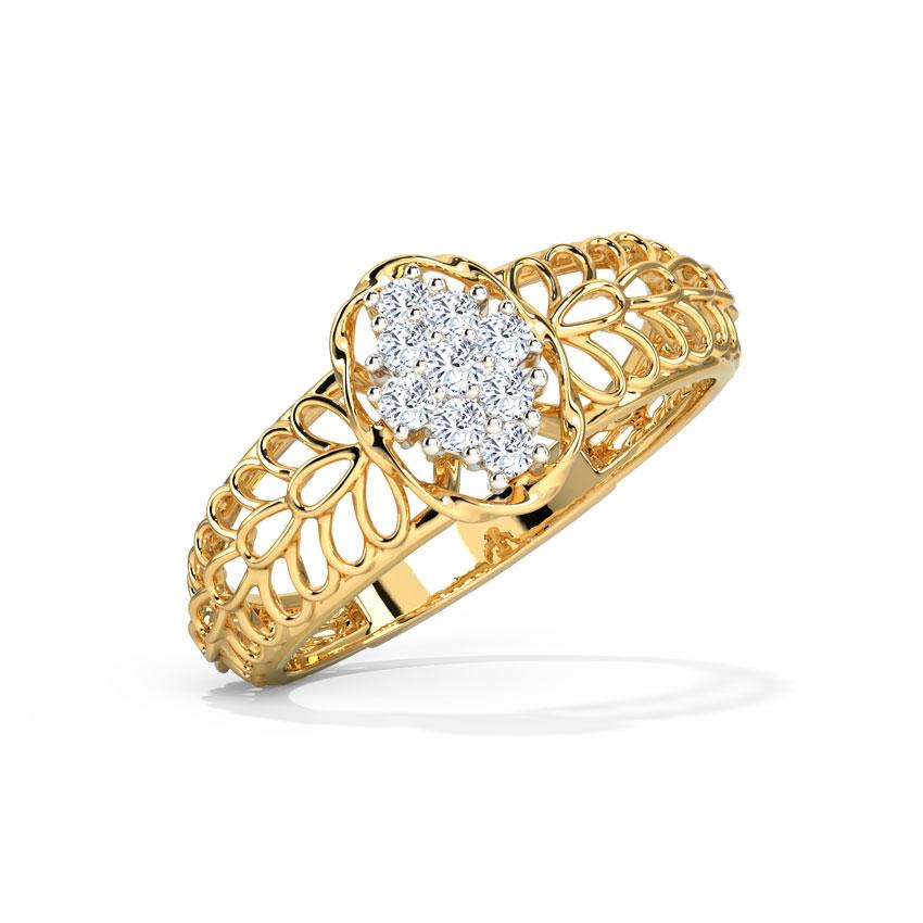 Diamond Rings 14 Karat Yellow Gold Ellipse Mesh Diamond Ring