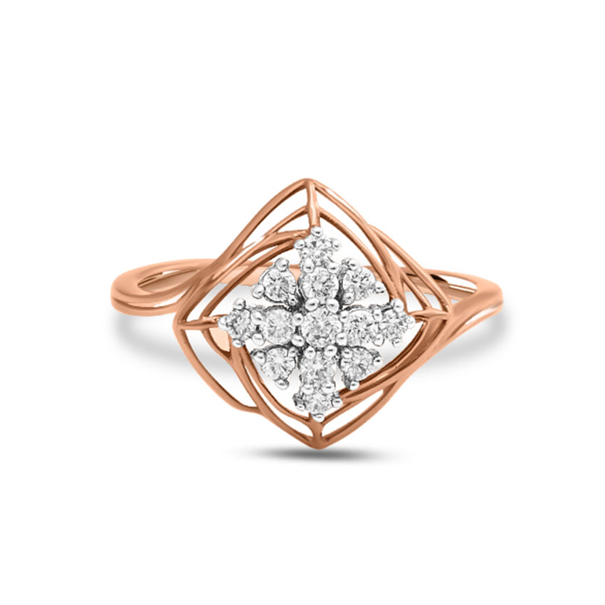 Diamond Rings 14 Karat Rose Gold Quad Mesh Diamond Ring