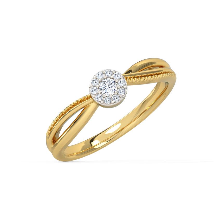 Diamond Rings 14 Karat Yellow Gold Intertwine Cluster Diamond Ring