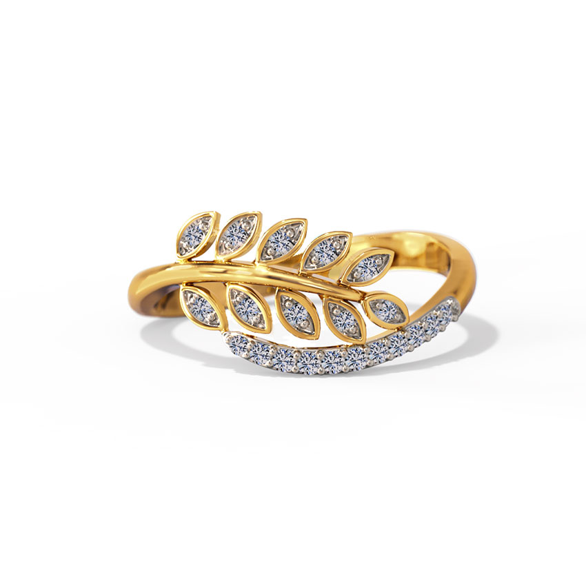 Glinting Leaves Diamond Ring