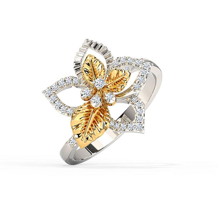 Diamond Rings 18 Karat Two Tone Gold Charming Bloom Diamond Ring