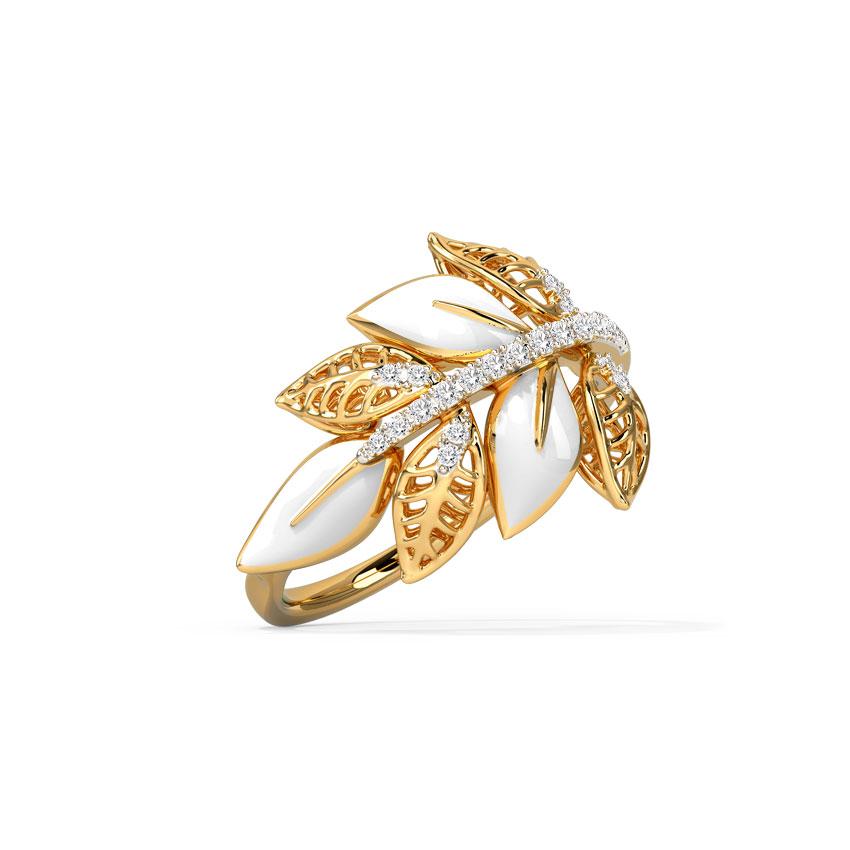 Diamond Rings 14 Karat Rose Gold Warmth Petal Diamond Ring
