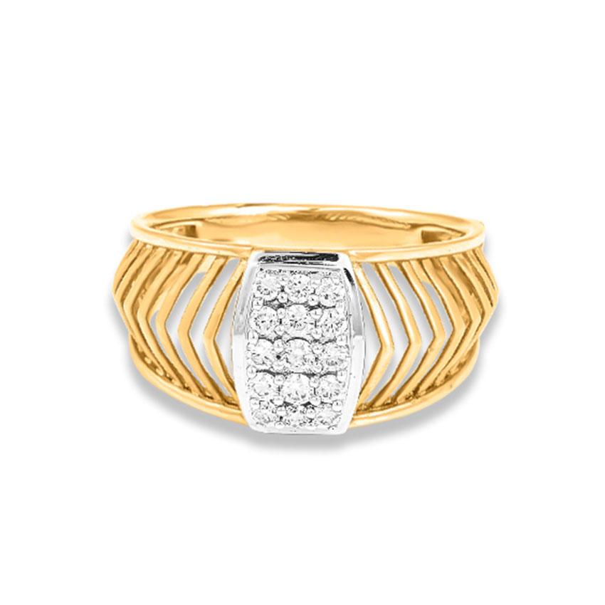 Diamond Rings 14 Karat Yellow Gold Rashid Men's Diamond Ring