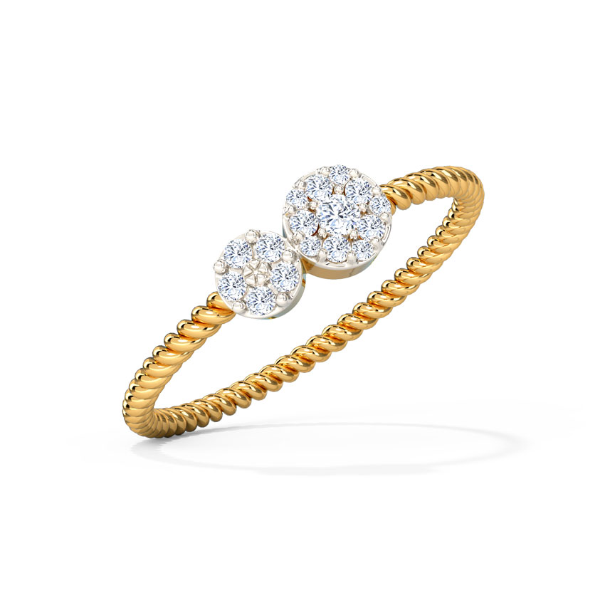 Diamond Rings 14 Karat Yellow Gold Twain Cluster Diamond Ring