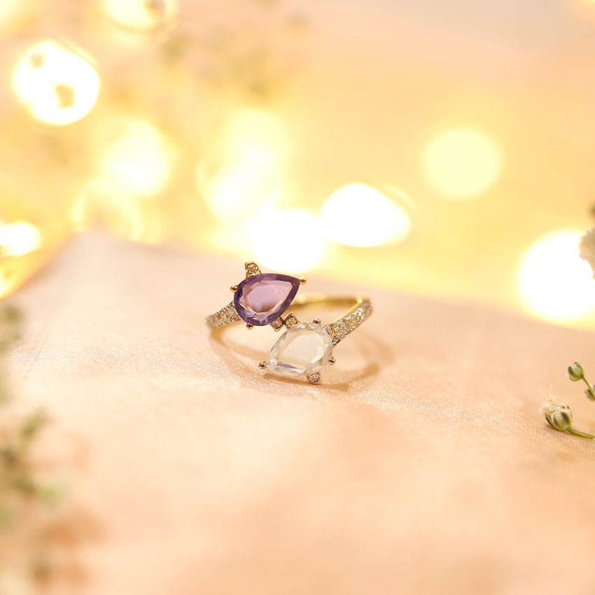 Diamond,Gemstone Rings 14 Karat Yellow Gold Duo Majestic Diamond Ring