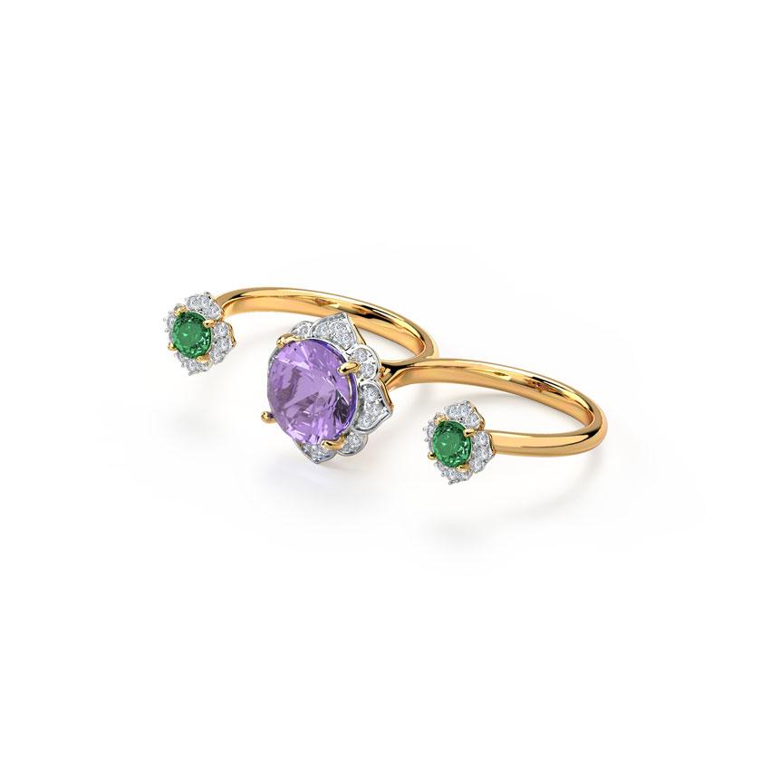 Diamond,Gemstone Rings 14 Karat Yellow Gold Grandiose Gemstone Ring