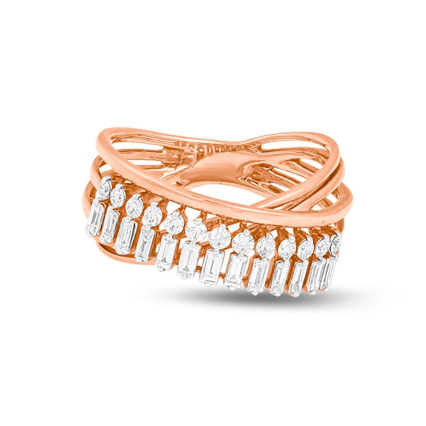 Diamond Rings 14 Karat Rose Gold Overlay Baguette Band