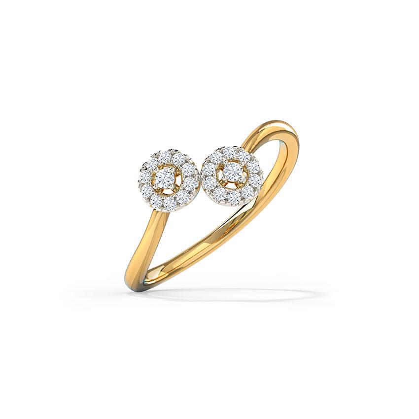 Diamond Rings 14 Karat Yellow Gold Twain Halo Diamond Ring