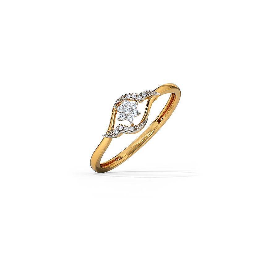 Diamond Rings 14 Karat Yellow Gold Gleaming Ornate Diamond Ring