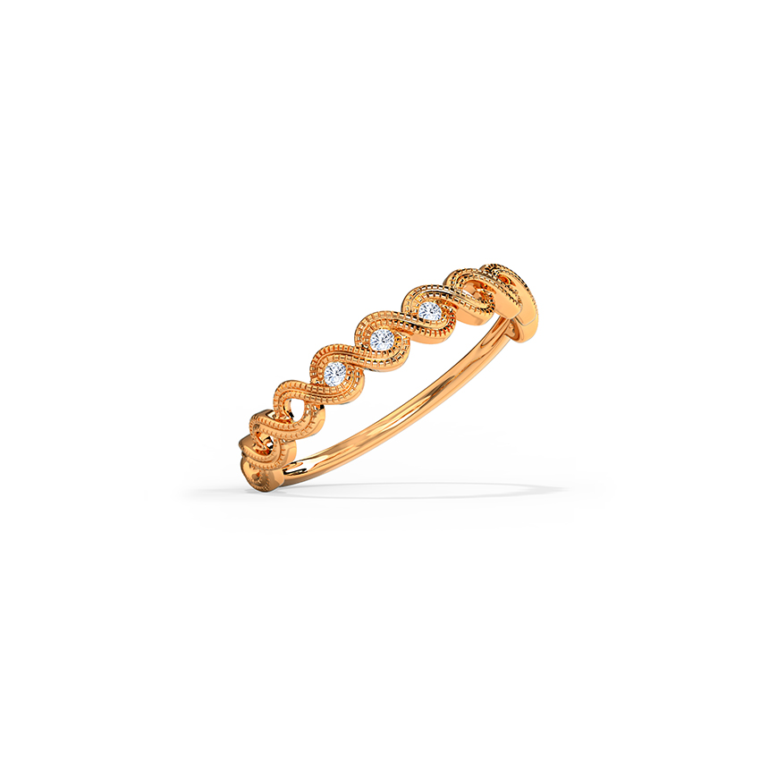 Diamond Rings 14 Karat Rose Gold Intertwine Diamond Band