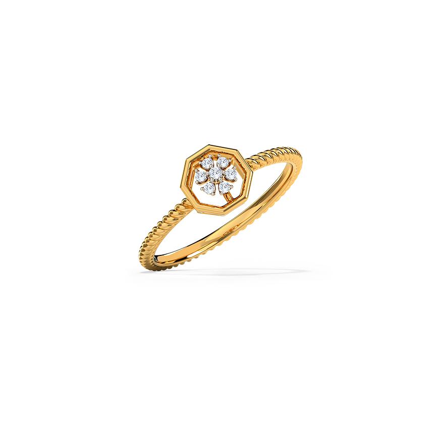 Diamond Rings 14 Karat Yellow Gold Florid Cluster Diamond Ring