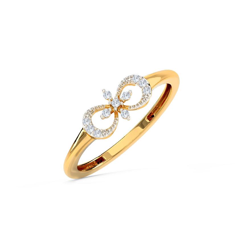 Diamond Rings 14 Karat Yellow Gold Elegant Floret Diamond Ring