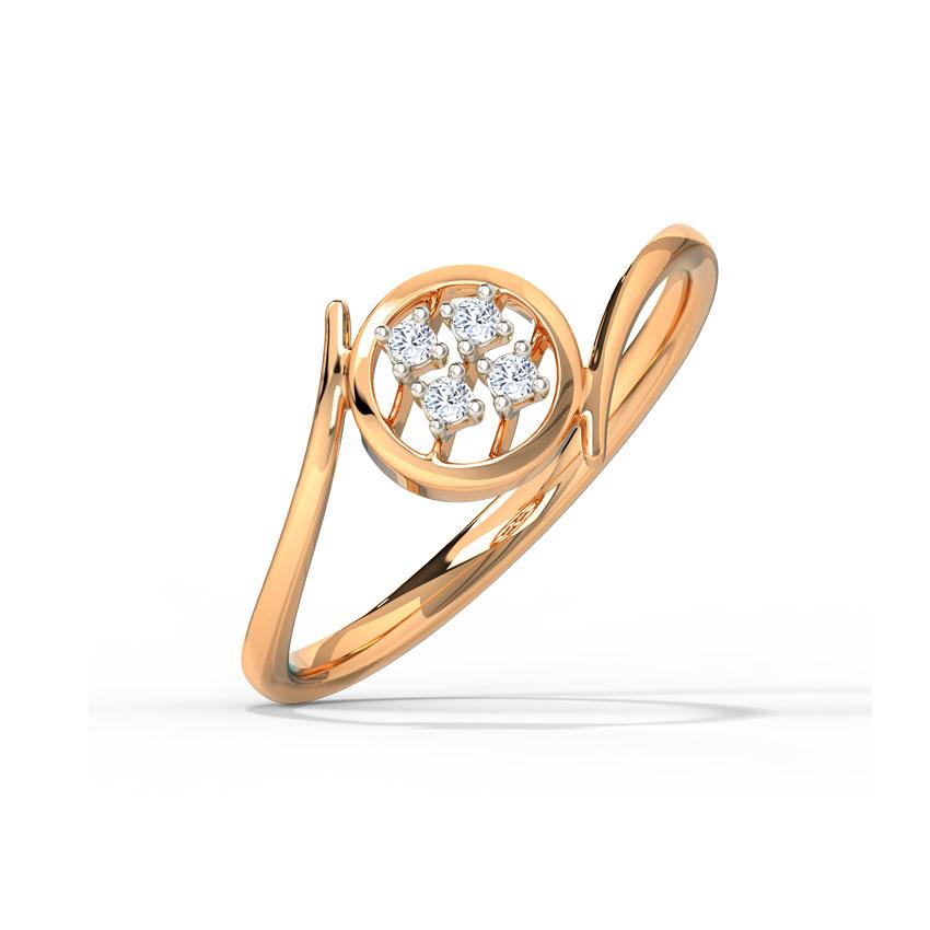 Diamond Rings 14 Karat Rose Gold Classic Orb Diamond Ring