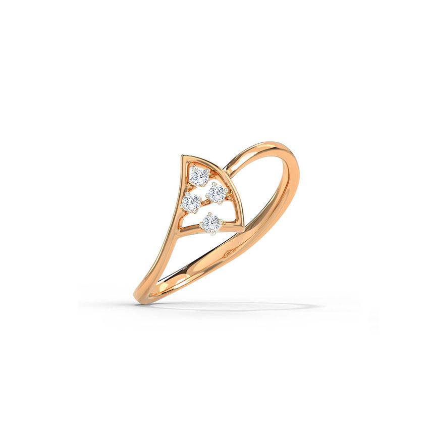 Diamond Rings 14 Karat Rose Gold Petite Florid Diamond Ring