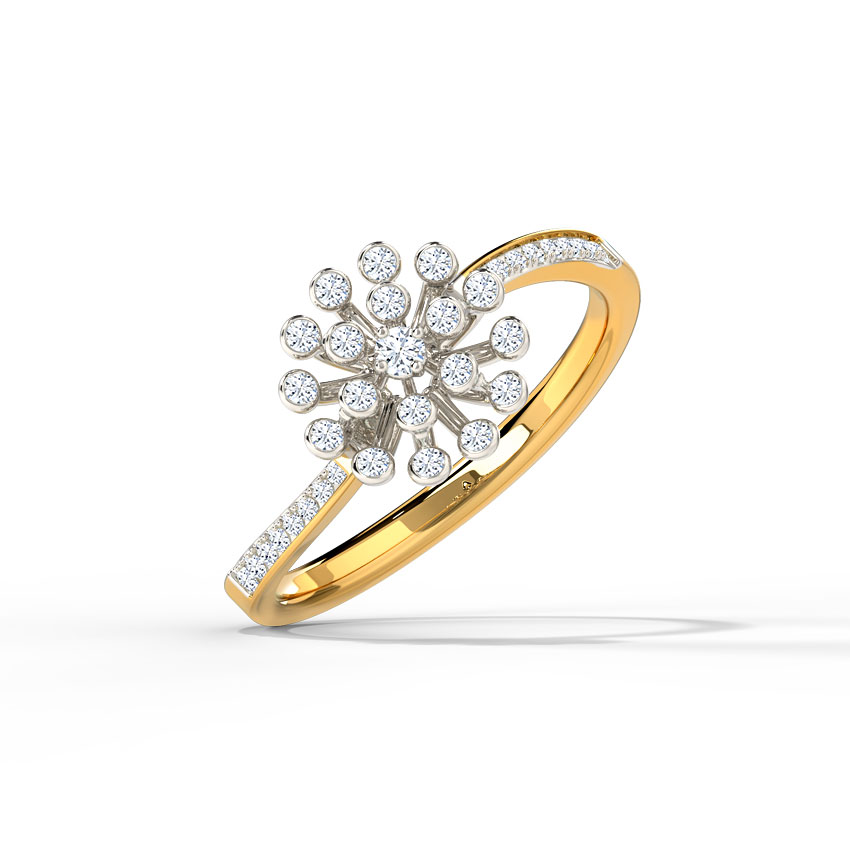 Diamond Rings 14 Karat Yellow Gold Jewel Ripple Diamond Ring