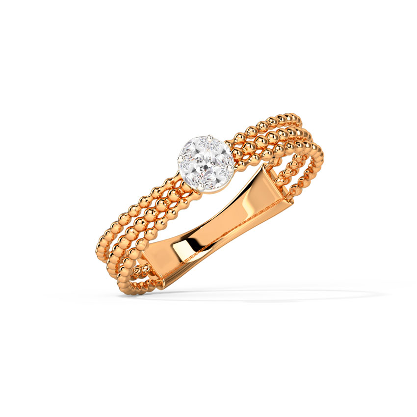 Diamond Rings 14 Karat Rose Gold Radiant Cluster Diamond Ring
