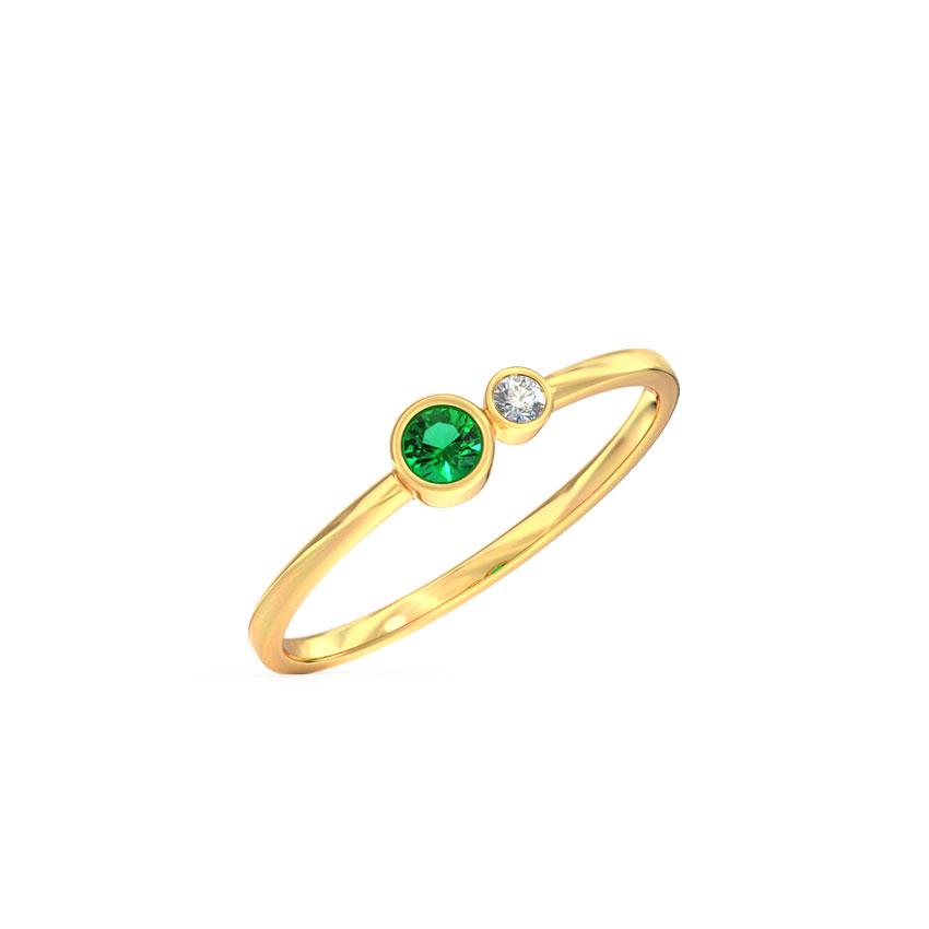 Diamond,Gemstone Rings 14 Karat Yellow Gold Dew Stackable Diamond Ring