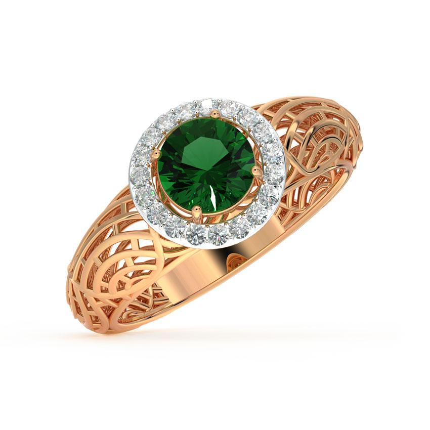Diamond,Gemstone Rings 18 Karat Yellow Gold Halo Mesh Diamond Ring
