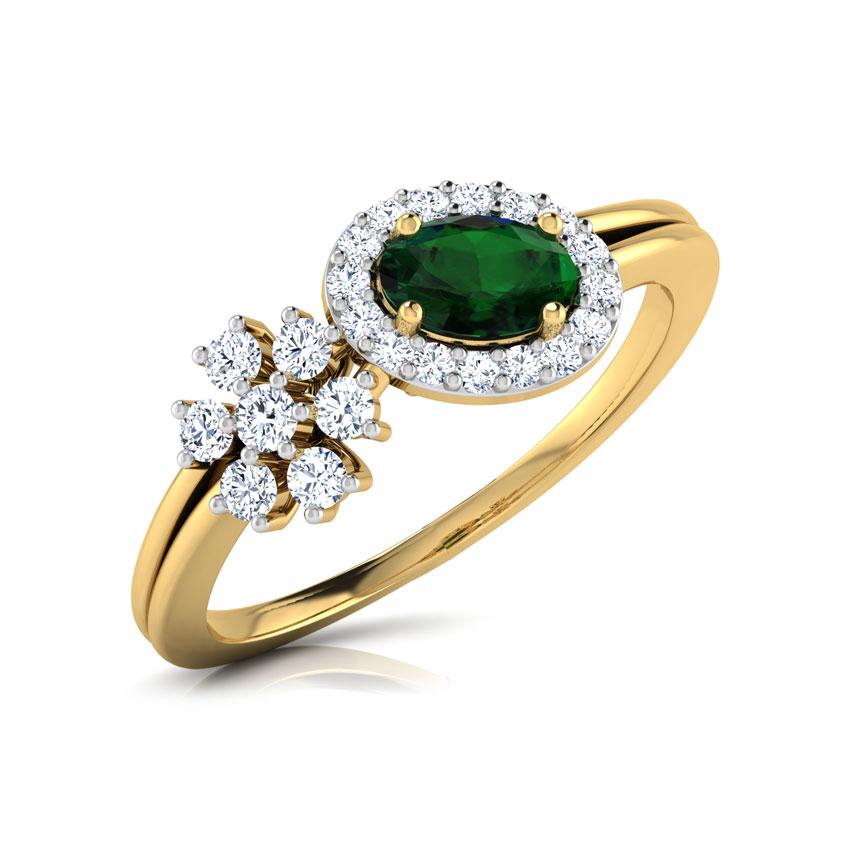 Diamond,Gemstone Rings 14 Karat White Gold Greenish Starlight Diamond Ring