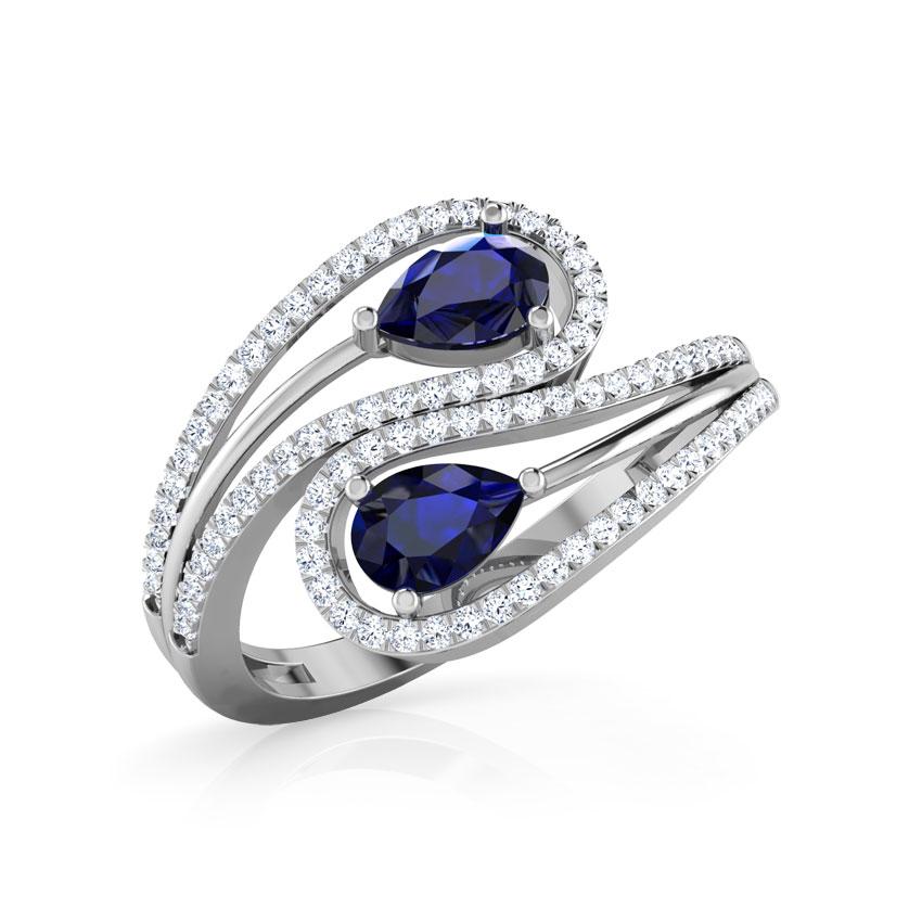 Diamond,Gemstone Rings 14 Karat White Gold Swerve Diamond Ring