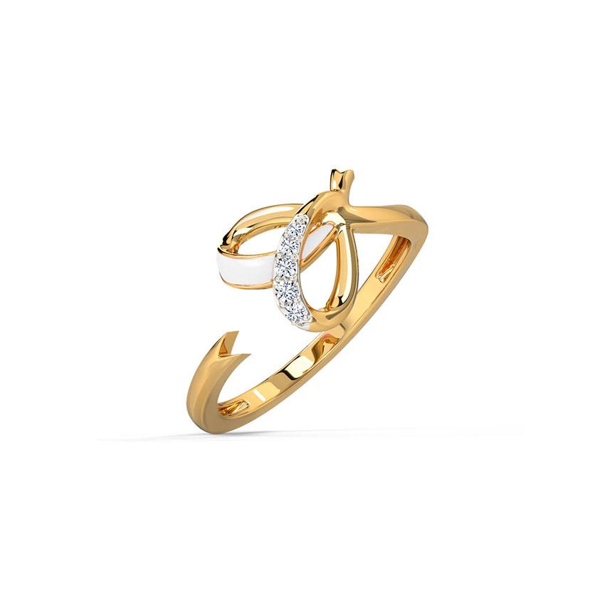 Diamond Rings 14 Karat Yellow Gold Ivory Heart Diamond Ring