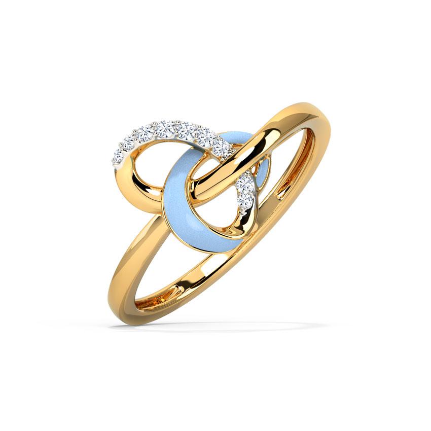 Diamond Rings 14 Karat Yellow Gold Pretty Blue Heart Diamond Ring
