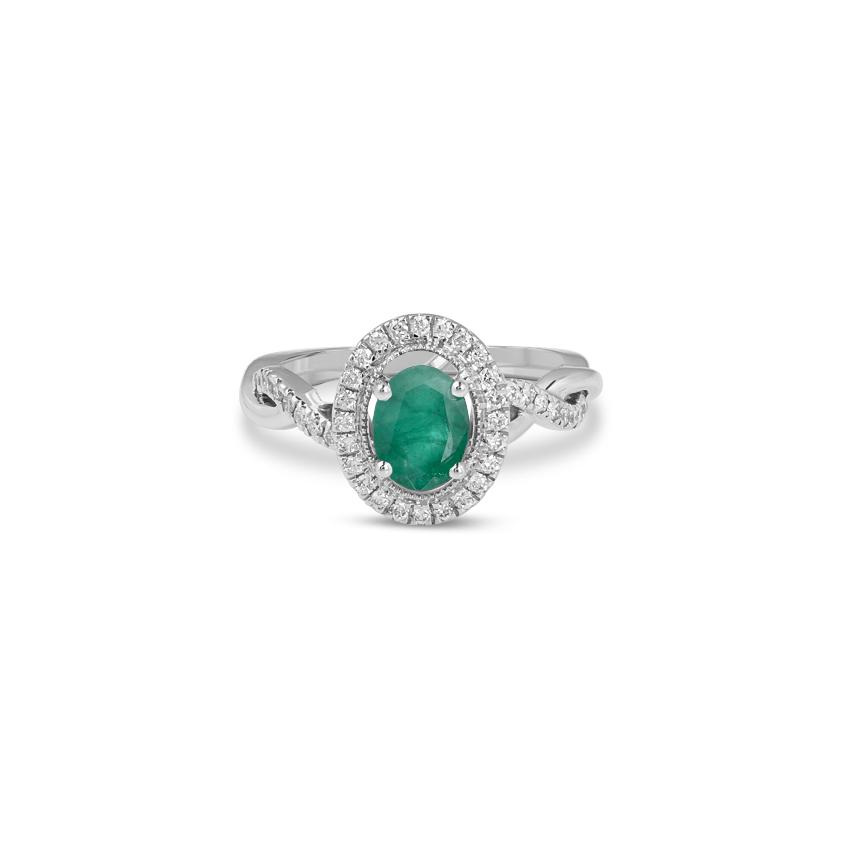 Diamond,Gemstone Rings 18 Karat Rose Gold Matilda Halo Gemstone Ring