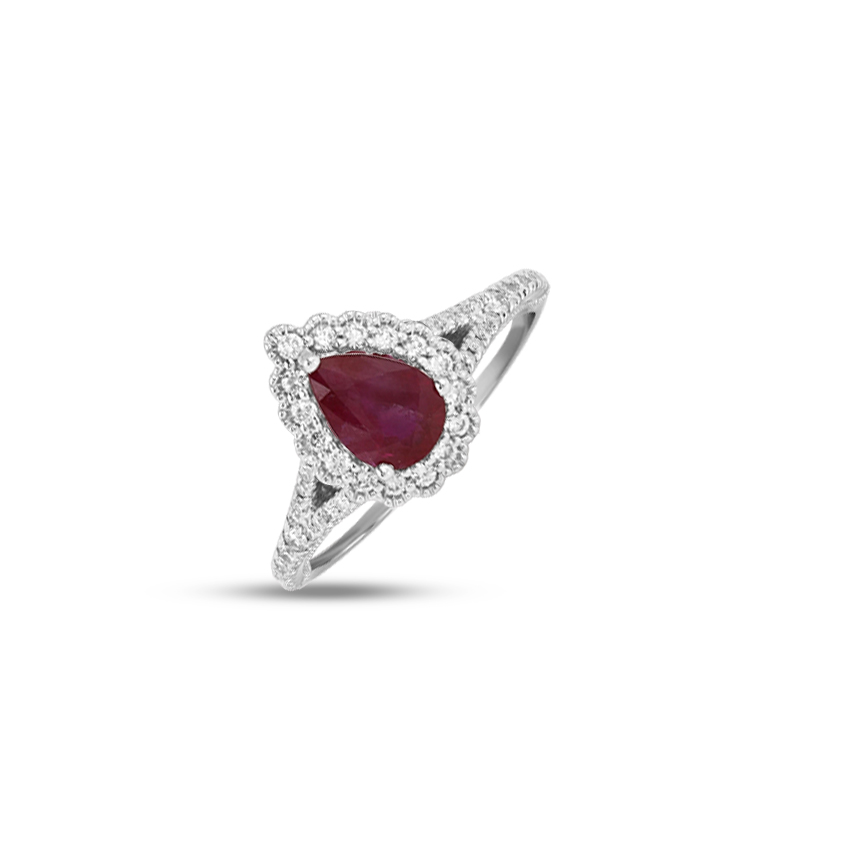 Diamond,Gemstone Rings 18 Karat White Gold Rosalia Halo Gemstone Ring