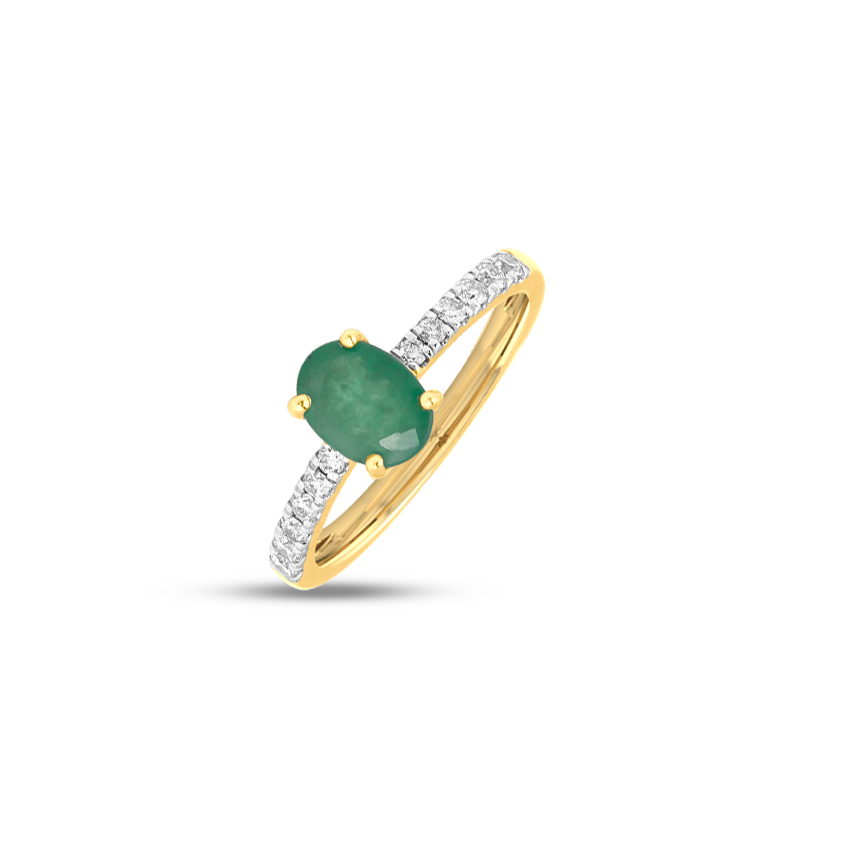 Diamond,Gemstone Rings 18 Karat Yellow Gold Jasper Gemstone Ring