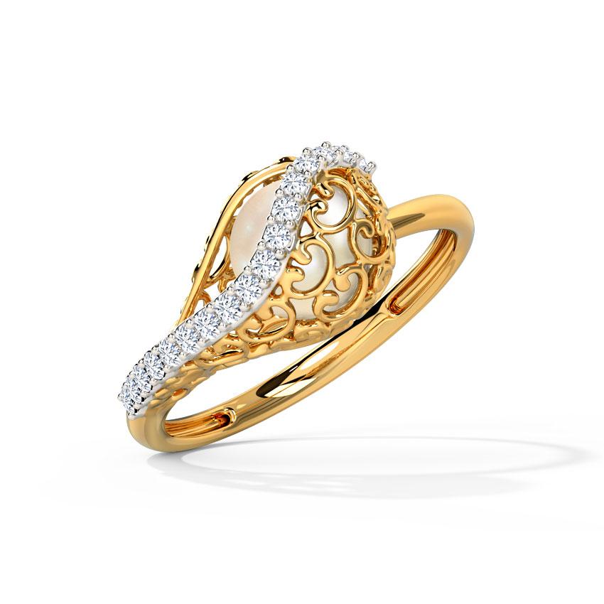 Diamond,Gemstone Rings 14 Karat Yellow Gold Jisha Ornate Ring