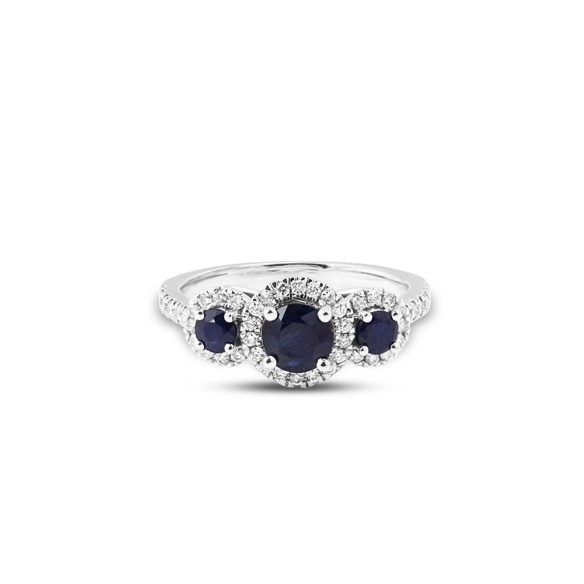 Diamond,Gemstone Rings 18 Karat White Gold Evelyn Diamond Band